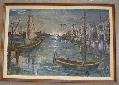 Modernist mod semi abstract Harbor scene, sail boats mid 20th Century modern Oil