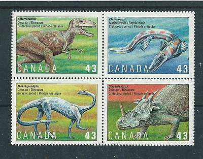 Canada 1993 Dinosaurs Block Of 4 Unmounted Mint, Mnh