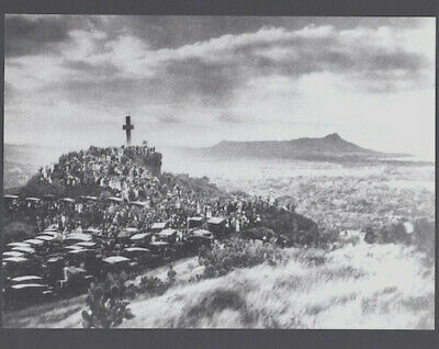 """Historic Easter Sunrise At Punchbowl Crater, Honolulu 1910?  Photo On 8X10"""" Mat"""