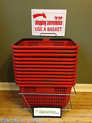 New Set of 12 Red Durable Break Resistant Plastic Shopping Baskets w/Metal Stand