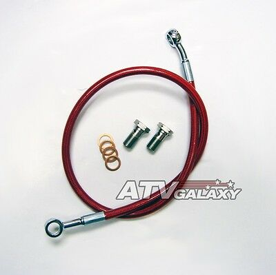 "2/"" BLACK EXTENDED REAR STEEL BRAIDED BRAKE LINE HONDA TRX250R 1986+ STREAMLINE"