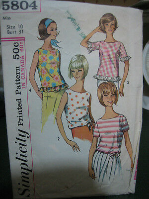 Vintage McCall's #5804 Misses Set of Blouses Pattern - Size 10