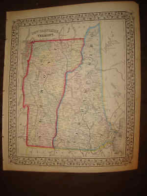 Superb Lrg Antique 1870 New Hampshire Vermont County Mitchell Handcolored Map Nr
