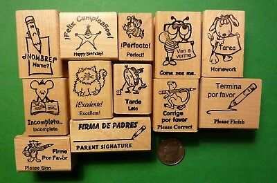 Teacher's Spanish/English Rubber Stamp Assortment, wood mounted
