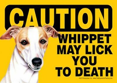 "CAUTION - Whippet May Lick You to Death - 5""x 7"" Sign"
