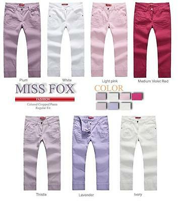 New Ladies Stretched Colored Cropped Pants-Size 10-20 (7 Colours)