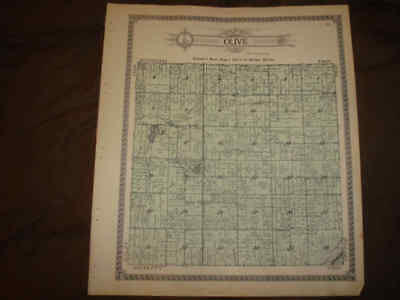 Antique Olive Township Clinton County Michigan Handcolored Map Superb Nr