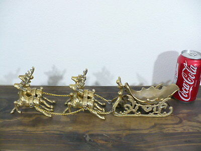 "CHRISTMAS SOLID BRASS (4) REINDEERS PULLING SLEIGH 16"" LONG EXCELLENT CONDITION"