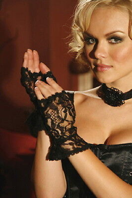 New Goth Black Lace Fingerless Gloves with Lace Ruffle Trim Wrist Length OS NWT
