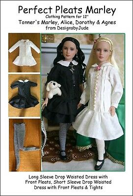 """Perfect Pleats Doll Clothes Sewing Pattern 12"""" Marley  & 14"""" Patience Tonner"""