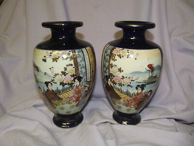 C1880 Matched Pair Of Japanese Ceramic Vases Hand Painted With