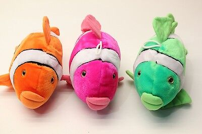 NEW Clownfish Nemo Fluorescent Neon Soft Plush Fish Toy Orange Pink or Green