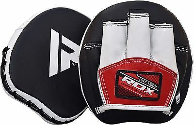 RDX Smartie Leather Focus Pads Hook and Jab Boxing Muay Thai Curved Mitts MMA T2