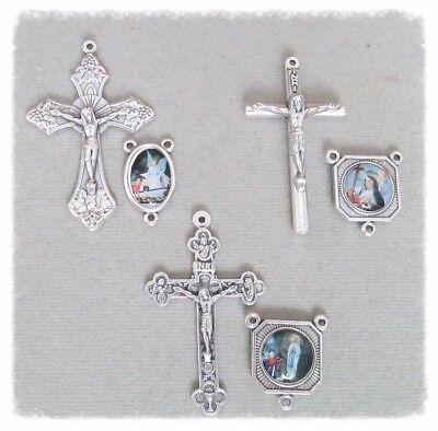 6 Crucifix Centers Making Rosary Italy ~ Lady of Lourdes St. Rita Guardian Angel