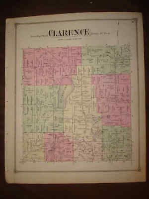 Superb 1873 Antique Clarence Township Calhoun County Michigan Handcolored Map Nr