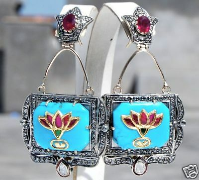 Connoisseurs' 23K-14K Mughal Ruby Diamond Inlay Turquoise Vintage Earrings