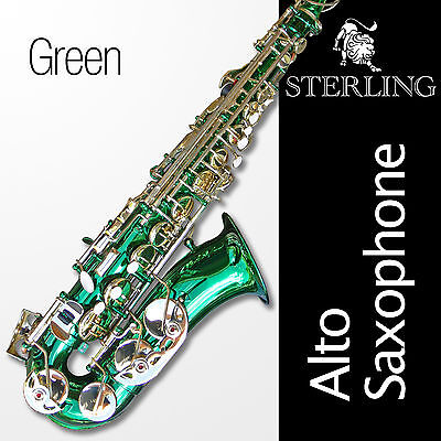 Green Alto Sax • Brand New STERLING Eb Saxophone • Case and Accessories •