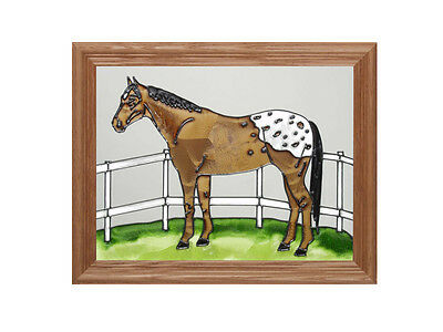 16x13 Stained Art Glass APPALOOSA HORSE Framed Hanging Suncatcher Panel