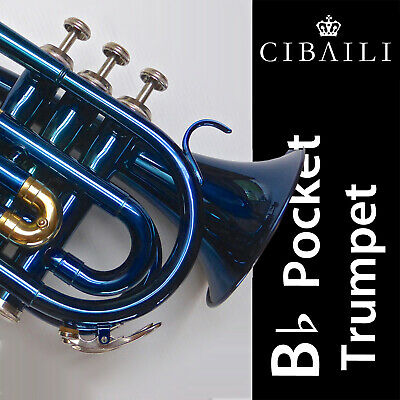 Nickel CIBAILI Pocket Trumpet • Highest Quality Bb • Brand New • Great Quality •