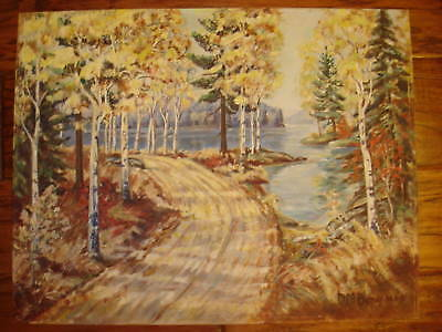 VINTAGE 50s fall landscape fall ORIGINAL hand painted oil PAINTING by BOWMAN