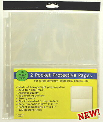 250 pages (TWENTY-FIVE PACKS) of Unigrade 2 pocket pages for Large Currency