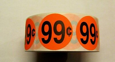 """1000 Bright Red $.99 Price Point Label Retail Sticker 1 1/2"""" Circle 1.5"""" .99"""