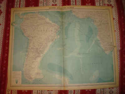 Huge 1922 Antique South America Africa Atlantic Ocean The Times Atlas Map Nr