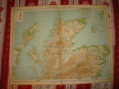 Huge Gorgeous Northern Scotland Orkney Shetland Islands 1922 Times Atlas Map Nr