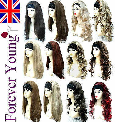 Ladies Half Wig 3/4 Wig Fall Clip In Hair Extensions Forever Young Wigs