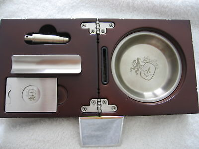 COLIBRI CAMELOT CIGAR ASHTRAY SET CHERRY FINISH PERSONAL ENGRAVING PLATE NICE