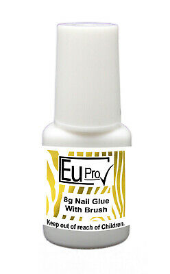LARGE CLEAR BRUSH ON NAIL GLUE TIP ADHESIVE  7g BOTTLE  False Nails Fake tips