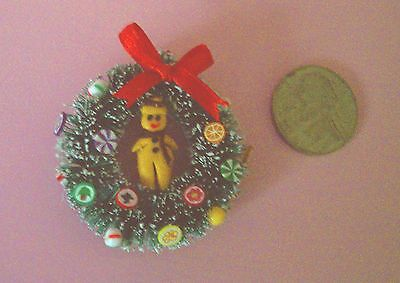 Gorgeous, Dainty Dollhouse Miniature Gingerbread/Candy  Wreath, Half or 1 scale
