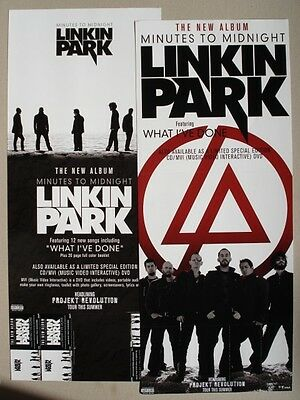 "LINKIN PARK ""MINUTES TO MIDNIGHT"" 2-SIDED U.S. PROMO POSTER /BANNER-Group & Logo"