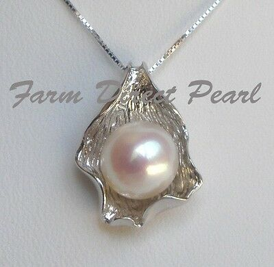 "Genuine Huge 11mm White Pearl CZ Pendant Necklace 16"" 18"" Cultured Freshwater"