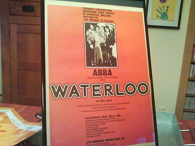 "Big 11X17 Framed Rare & Original Abba ""waterloo"" 1974 Debut Lp Cd Promo Ad"