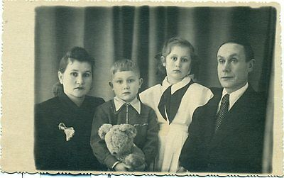 1953 Russia Stalin Era Soviet Family Pioneer with Teddy Bear