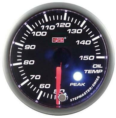 Autogauge 60mm smoked face oil temp 50-150 gauge with peak hold fuction