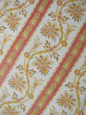 Antique French Block  printed cotton fabric Indienne design c1890