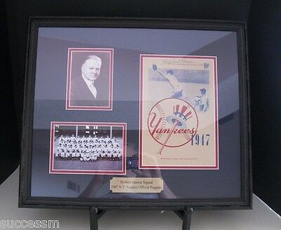 Rare Herbert Hoover Autograph 1947 New York Yankees Framed Program