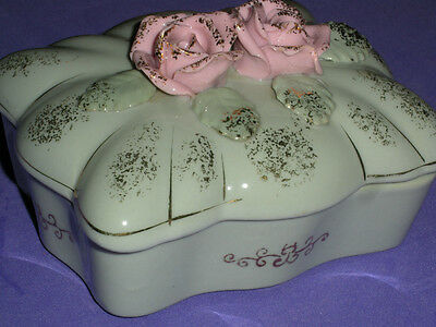 Beautiful Gray-Green Ceramic Dresser Box with Applied Roses-Rosebuds and Leaves