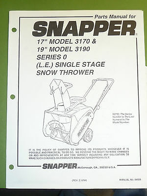 snapper snow thrower 17 3170 19 3190 series 0 parts manual rh picclick com snapper 5241 snowblower manual snapper snowblower manual 10305e