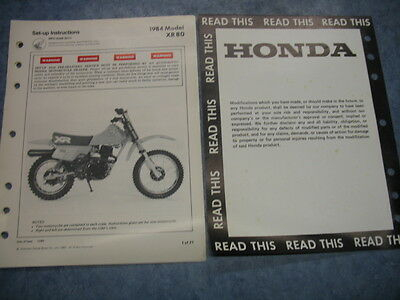 84 xr80 xr 80 1984 honda factory oem assembly set up manual wiring diagram