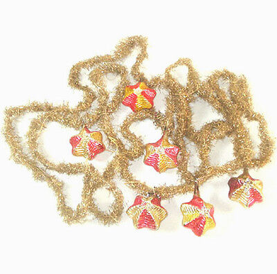 Antique Christmas Tinsel Garland With Glass Star Ornaments