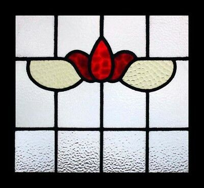 Victorian Ruby Flower Antique English Stained Glass Window