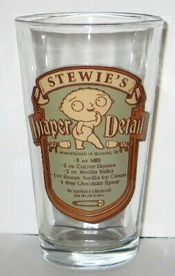 The Family Guy Stewie Diaper Detail Drink Recipe Illustrated Pint Glass, UNUSED