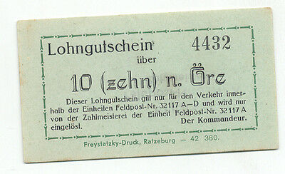 Norway WW2 POW Camp 1942 10 Ore Unlisted Lohngutschein AU-U Held Polish Officers