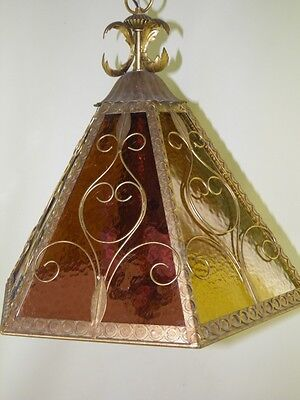 Antique Multi Color Slag Glass Tole Gilded Chandelier Light Fixture