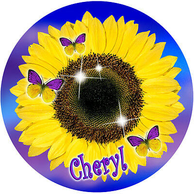 Sunflower Butterflies Round Mouse Pad Personalize Gifts Ladies Flowers Name New