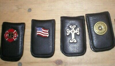 Leather Magnetic MONEY CLIP Wallet Fire Dept/Flag/Eagle/12 GA Shell/Celtic Cross