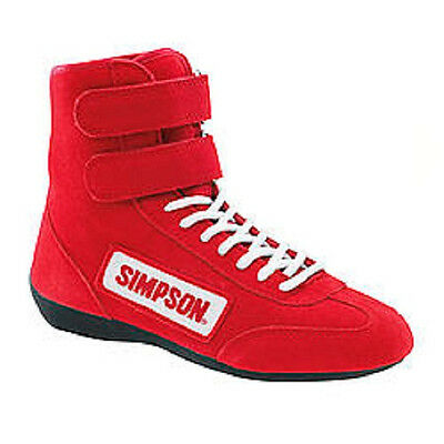 Simpson High Top Race Shoe Red Size-11 3.3/5 Specs #28110Rd Nomex-Lined Fleece